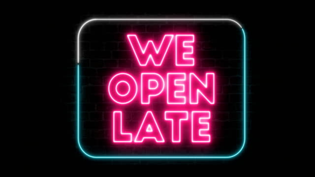 We Open Air Sign Neon, we open late neon colored stock videos & royalty-free footage