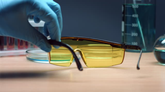 Wearing yellow safety glasses video