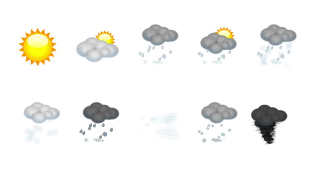 Weather animated icon set. Loop video