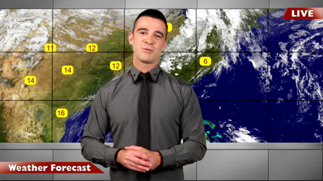 Weather forecast-live in studio with map video