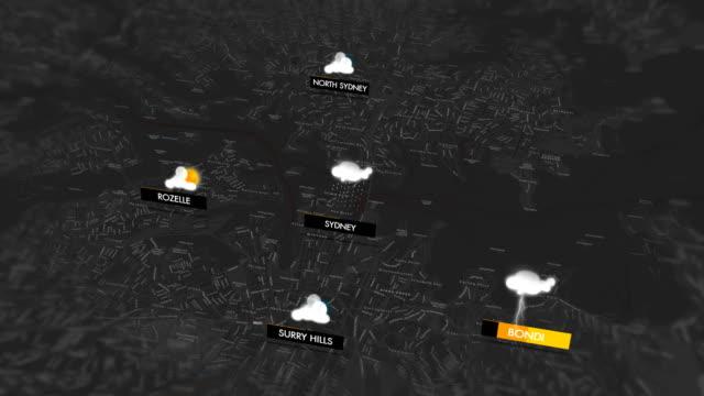 vídeos de stock e filmes b-roll de weather graphics for sydney - weatherman