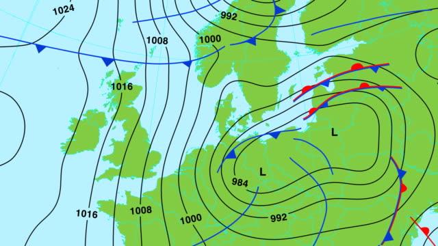 carta meteorologica animazione-europa centrale e settentrionale - 20 o più secondi video stock e b–roll
