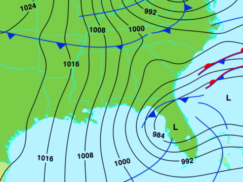 Weather map animation - south-eastern USA video