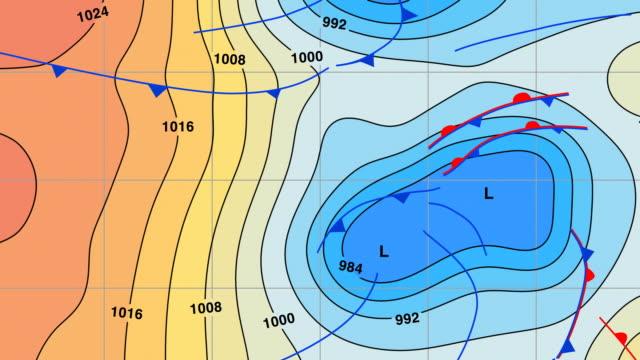 wetterkarte animation mit temperatur farbe bänder - kartographie stock-videos und b-roll-filmmaterial