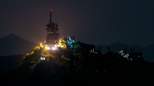 weather station on mountain at night timelapse, hong kong city video
