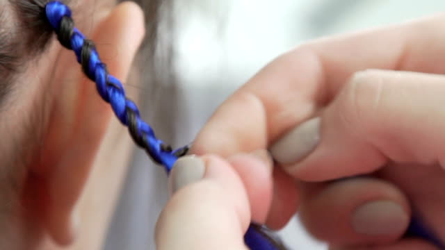 Weaving braids with blue artificial strands: close-up Process of weaving African braid with kanekalon. Small African braids with blue artificial strands. Trend-braids: a modern and topical hairstyle - bright braids. Weaving braids with blue strands pigtails stock videos & royalty-free footage