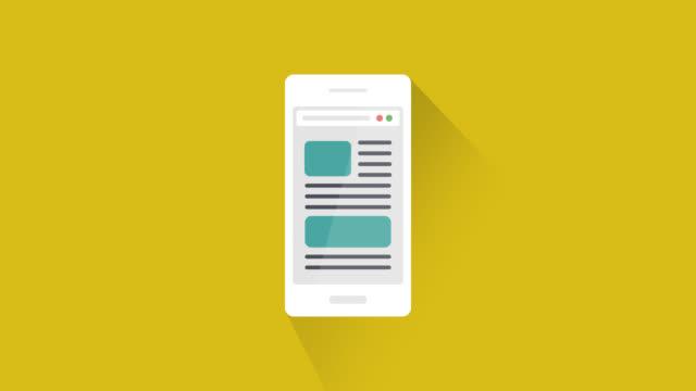web browser-navigation oder dokument seiten scrollen auf smartphone - schriftrolle stock-videos und b-roll-filmmaterial