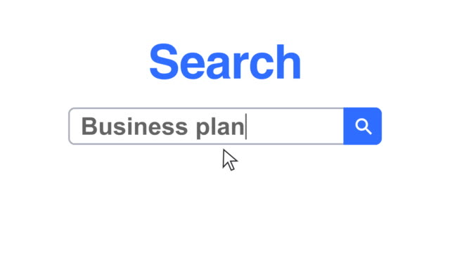 Web browser or web page with a search box typing business plan for internet searching