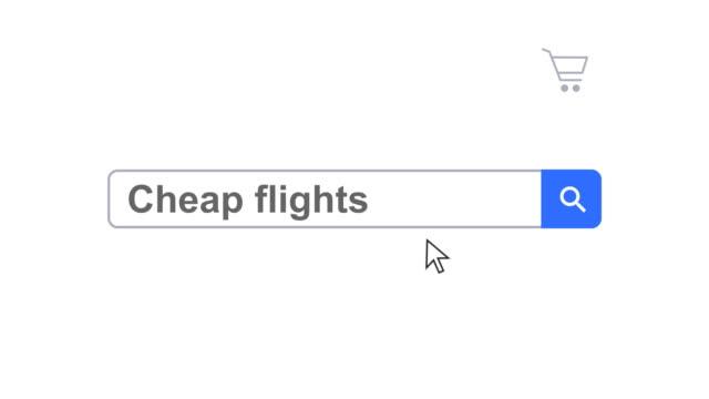 vídeos y material grabado en eventos de stock de navegador web o página web con un buscador de vuelos baratos para búsqueda en internet de mecanografía - seo