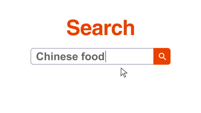 Web browser or web page with a search box typing chinese food for internet searching