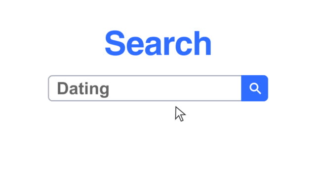 Web browser or web page with a search box typing dating for internet searching