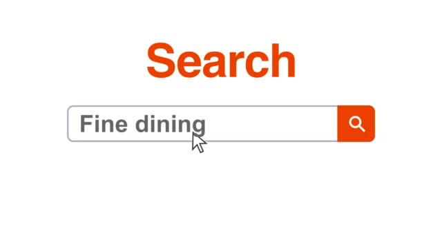 Web browser or web page with a search box typing fine dining for internet searching Web browser or web page with a search box typing fine dining to search the internet, the cursor clicks on the magnifying glass icon on the search button to search the typed text on the internet. search engine stock videos & royalty-free footage