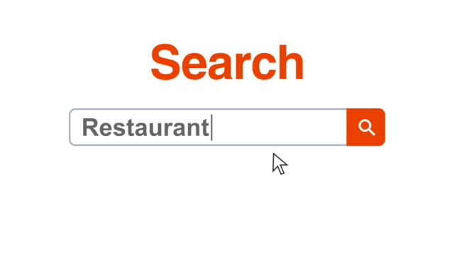Web browser or web page with a search box typing restaurant for internet searching