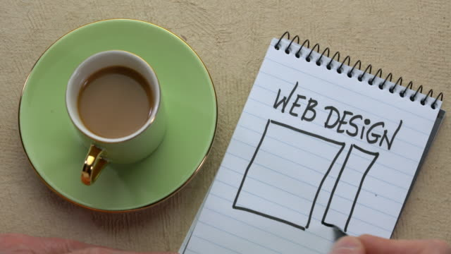 Web design - man hand writing a note with a black marker Web design - man hand writing a note with a black marker and sketching website layout in a spiral notebook, overhead view website design stock videos & royalty-free footage