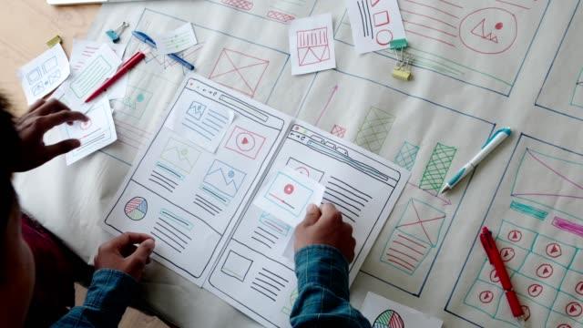 vídeos de stock, filmes e b-roll de design responsivo de laptop de web designer. creative ui ux designer reunião de trabalho em equipe planejando projetar desenvolvimento de aplicativos de layout de wireframe para tecnologia de telefone celular de tela de smartphone - diagrama