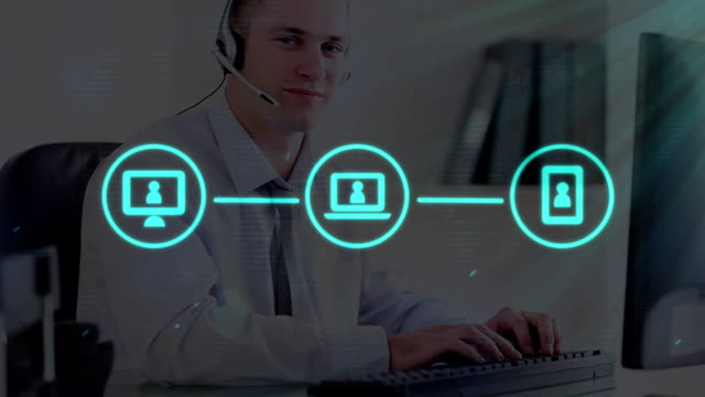 web of connections icons against man wearing headset using computer - shifts call centre video stock e b–roll