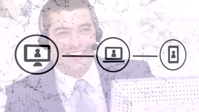 web of connections icons against man wearing talking on headset - shifts call centre video stock e b–roll