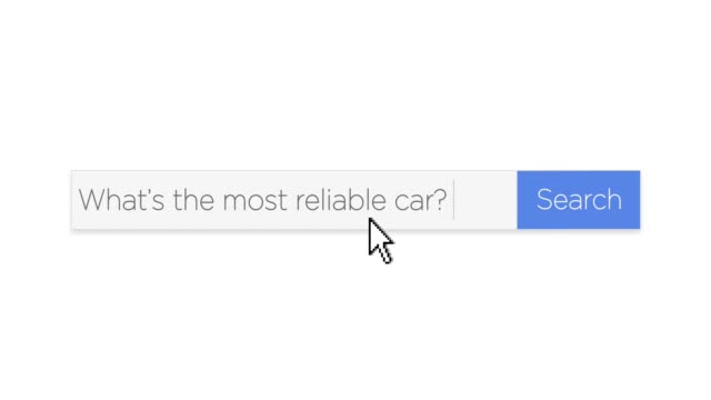 "Web Search Box with Car Reliability Question A graphical Google-style web search box asking the question, ""What's the most reliable car?"" With optional luma matte. web browser stock videos & royalty-free footage"
