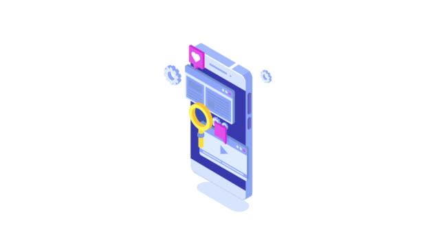 stockvideo's en b-roll-footage met web seo optimalisatie animatie infographic isometrische. geanimeerde videoclip - isometric