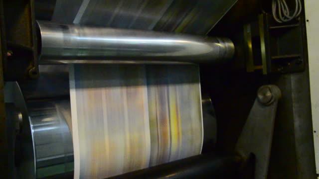 Web set Offset Press Printing Today Newspaper, Close up video