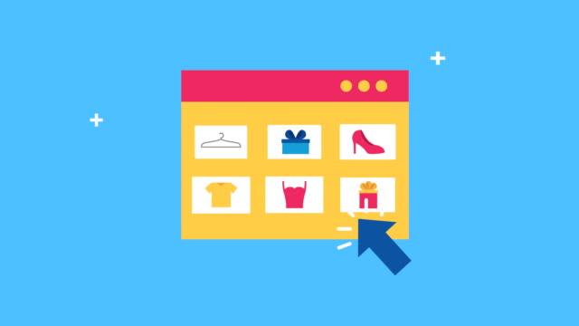 vídeos de stock e filmes b-roll de webpage template with ecommerce technology - shop icon