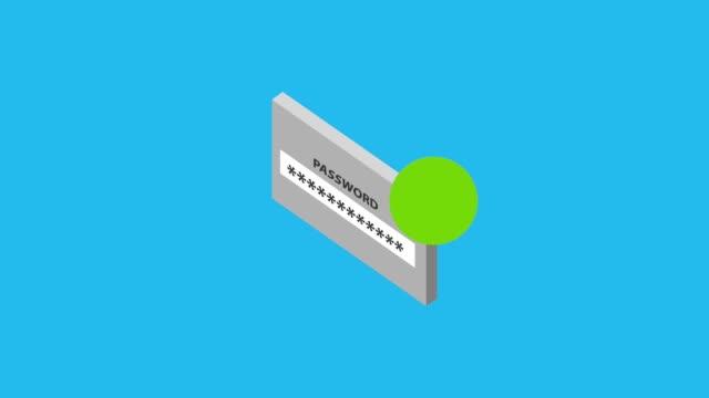 веб-сайт пароль логин галочку изометрические - замок средство безопасности стоковые видео и кадры b-roll