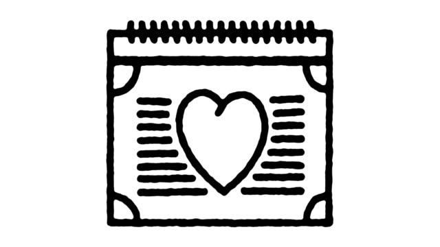 hochzeit jahrestag hand draw line icon animation - kalender icon stock-videos und b-roll-filmmaterial