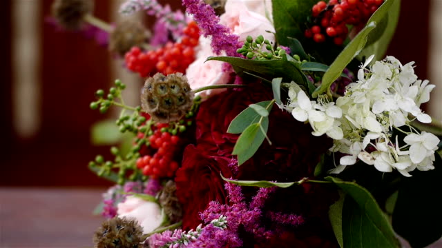 Wedding bouquet of fresh flowers. video