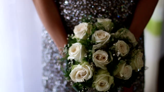wedding bouquet of roses and freesias - wedding fashion stock videos and b-roll footage