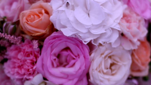 a wedding bouquet on a wedding reception table - bouquet video stock e b–roll