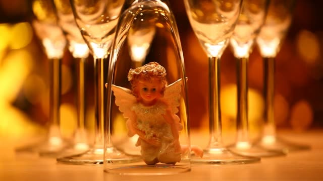 wedding champagne glass angel hd footage - porcelain stock videos & royalty-free footage