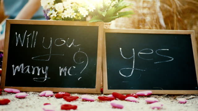 Wedding concept, will you marry me question and yes handwritten on blackboard.