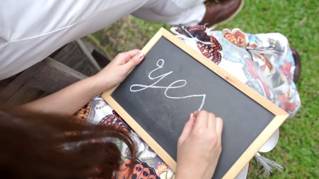 """Wedding concept with handwriting on a blackboard with the text """"Yes"""" written on it."""