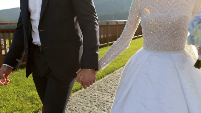 Wedding couple holding hands on sunset background video
