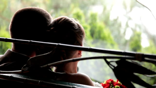 Wedding couple looking at the rain video