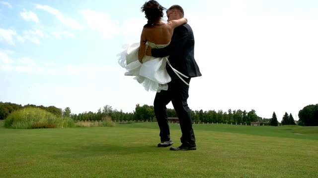Wedding couple outdoor. video