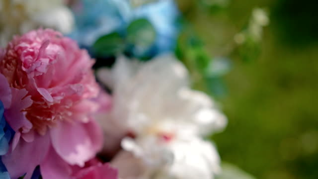 Wedding decoration. Bouquet with colorful peony video