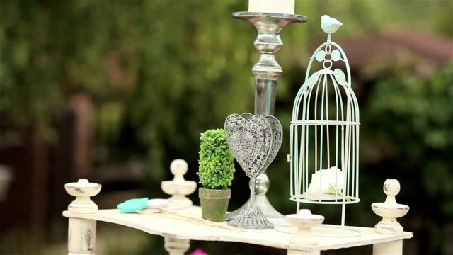 Wedding decoration of wedding ceremony. Bird cage and iron heart on the table video