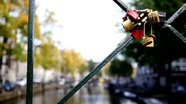 Wedding locks on Amsterdam bridge, Netherland video