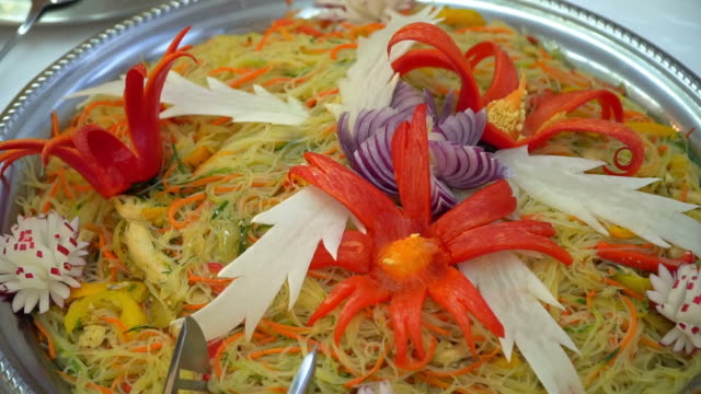 wedding reception beautifully presented dishes. video