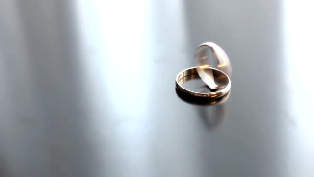 Wedding rings rotating in each other video