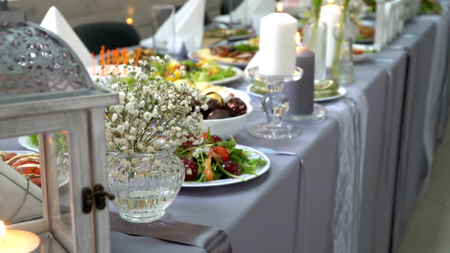 wedding table served with a meal in the restaurant video