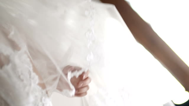 Wedding veil on bed video