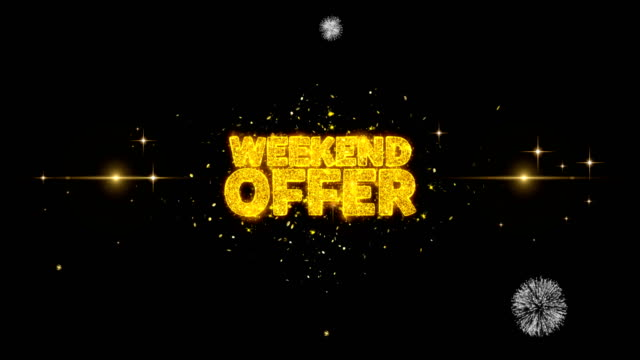 weekend offer golden text blinking particles with golden fireworks display - holiday background стоковые видео и кадры b-roll