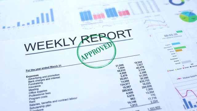 Weekly report approved, hand stamping seal on official document, statistics