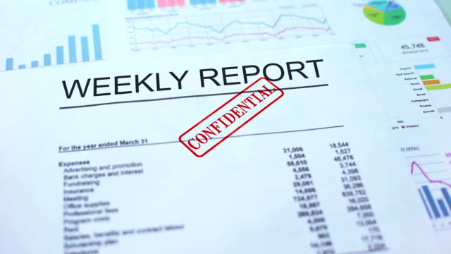 Weekly report confidential, hand stamping seal on official document, statistics