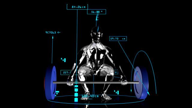 vídeos y material grabado en eventos de stock de 3 d hombre de levantamiento de peso con datos técnicos - entrenamiento con pesas