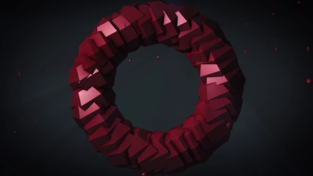 Weightlessness. Rotating torus on black background. 3D computer generated geometric animation. Illustration of an abstract figure in the form of a torus