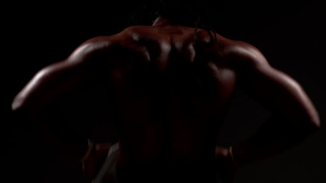 Weightlifting, slow motion shot of fit African American Man video
