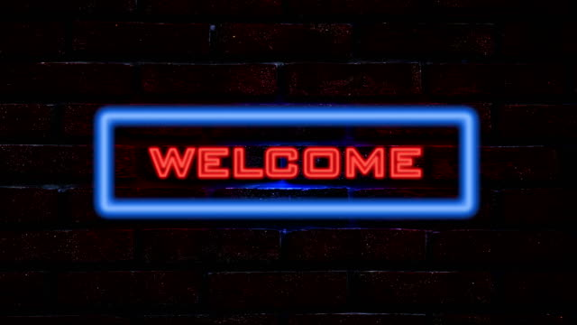 Welcome neon sign video